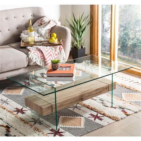 1 table table item dimesions: Safavieh Kayley Natural/Glass Coffee Table | Modern glass coffee table, Coffee table, Glass ...