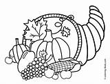 Cornucopia Coloring Pages Printable Thanksgiving Printables Getcolorings Colorings sketch template