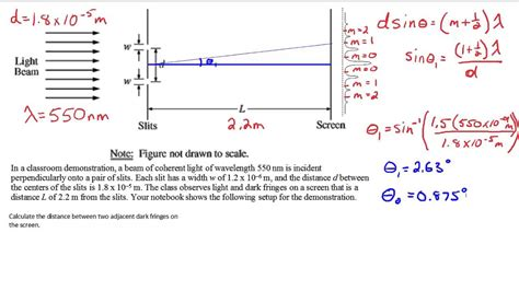 youngs double slit sample problem youtube