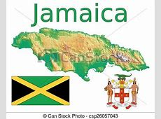 Jamaica map flag coat Jamaica map aerial view eps vector