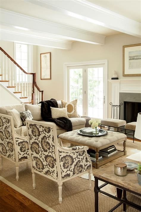 neutral living room hip traditional large scale print