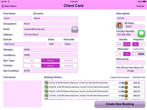 client record card beauty template nail tech manager allows you to manage all of your clients