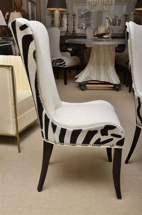 Cowhide Dining Chairs by Set Of Eight Zebra Stenciled Cowhide Dining Chairs For