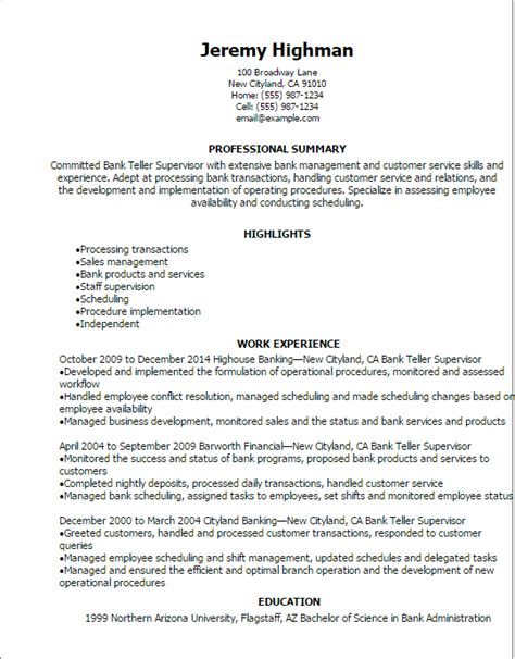 professional bank teller supervisor resume templates to