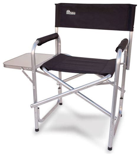 earth heavy duty folding director s chair with side table
