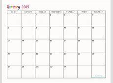 Custom Editable Free Printable 2019 Calendars ele