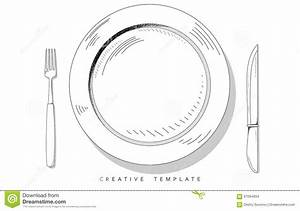 Set sketch cutlery plate fork and knife template for for Food wheel template
