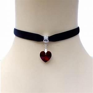 Cute Girl's Crystal Heart Pendant Velvet Choker Necklace