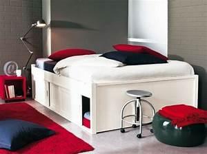 Lit Double Avec Rangement : lit haut avec rangement maison design ~ Teatrodelosmanantiales.com Idées de Décoration