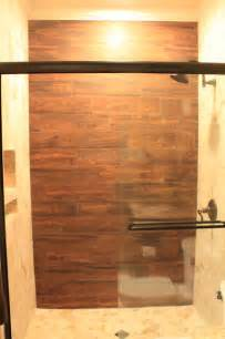 Wood Look Tile Bathroom Shower