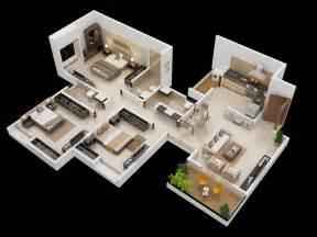 3D 3 Bedroom House Simple Plan