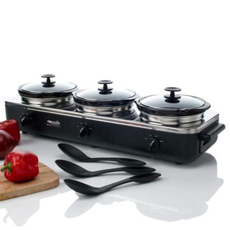 rival scrbc909 ps trio 3 qt crock pot buffet server black stainless ebay