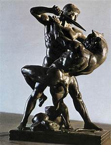 Bronze statue of Theseus Slaying the Minotaur, a monster ...