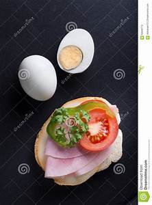 Bread Or Sandwich With Ham, Egg And Vegetables. Stock ...