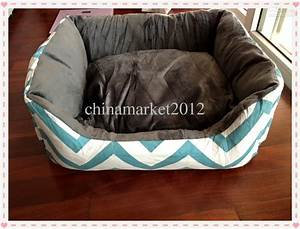 cotton canvas pet chevron zig zag dog bed house with soft With dog bed inside mattress