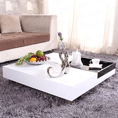 Figure out how your square low coffee tables will soon be put to use. OSPI White Gloss Square Coffee Table /Low Table with Black storage Tea Tray L85xW85xH22cm ...