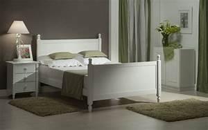 Lit Double Blanc : acheter lit double florence 140 x 190 cm partiellement massif coloris blanc avec eco sapiens ~ Teatrodelosmanantiales.com Idées de Décoration