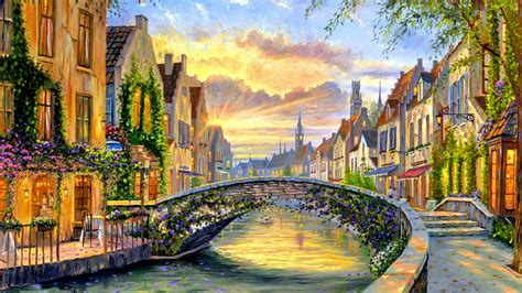Painting Wallpaper by Belgian Town In Hd Wallpaper Background Image