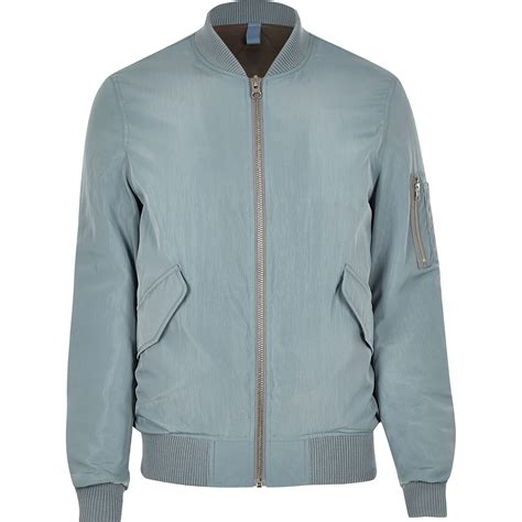light bomber jacket mens river island light blue ma1 bomber jacket in blue for men
