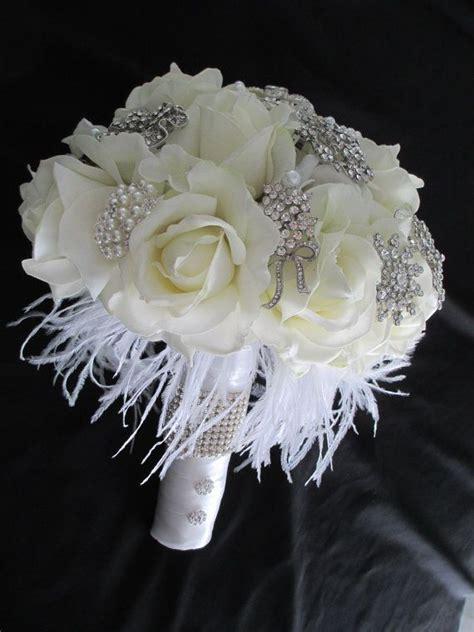 Rhinestone Brooch And Great Gatsby White And Cream Bridal