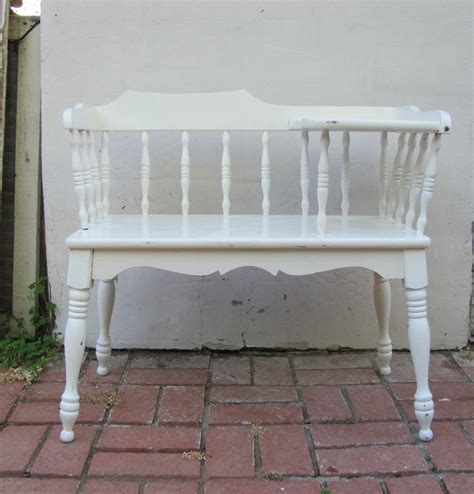 shabby chic bench vintage telephone bench white turned wood shabby chic