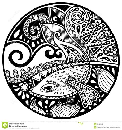 Abstract Vector Design Black And White by Black White Abstract Zendala With Fish And Waves Stock