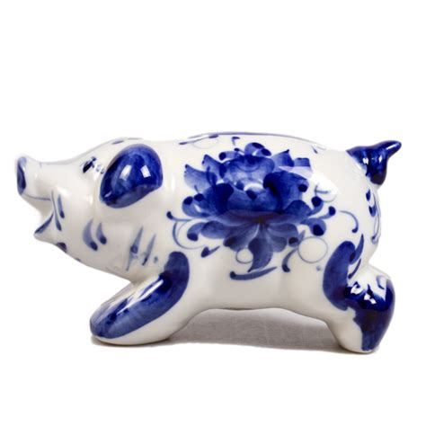 6073 porcelain piggy bank piglet piggy bank blue white porcelain gzhel product