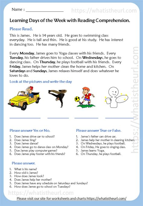 learning days  reading comprehension  home teacher