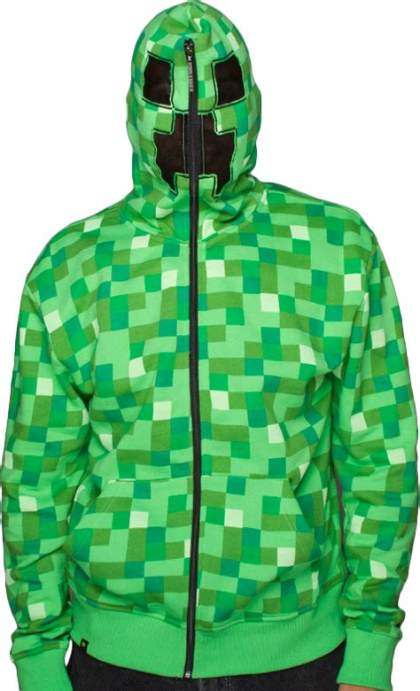 minecraft creeper green premium zip  hoodie