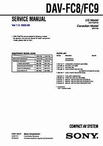 Sony Dav-fc8  Dav-fc9 Service Manual