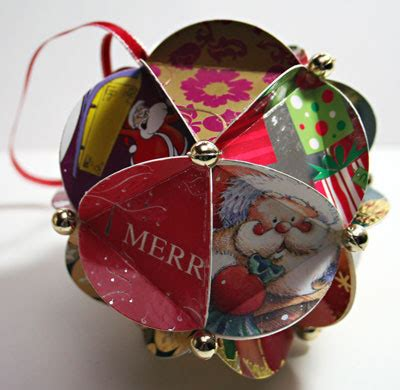 recycled christmas card ball ornaments recycling center