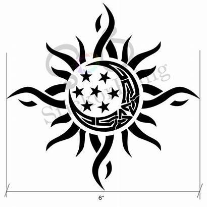 Tribal Moon Sun Star Tattoos Decal Vinyl