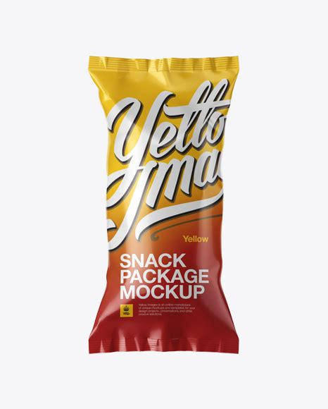 Similar design products to metallic plastic snack package mockup. Glossy Snack Package Mockup in Flow-Pack Mockups on Yellow ...