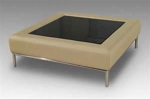 Table Basse Cuir : table basse en cuir italien paloma beige mobilier priv ~ Teatrodelosmanantiales.com Idées de Décoration