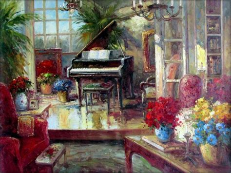 large grand piano  living room corner hand painted