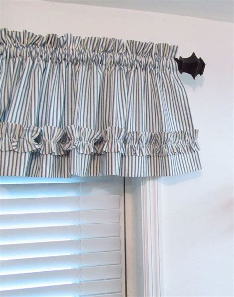 Blue Gray Valance by Blue White Ticking Stripe Valance Made To Order 17