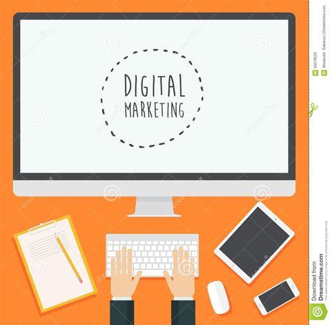 Digital Marketing Materials by Flat Design Concept Web Digital Marketing Trendy Stock