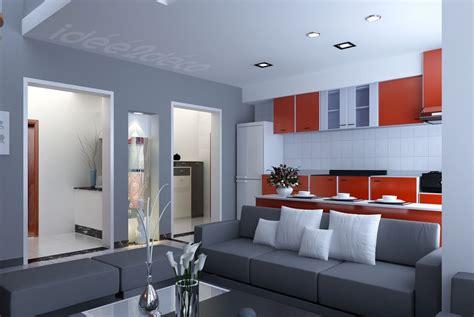 design de petit salon cuisine gris et