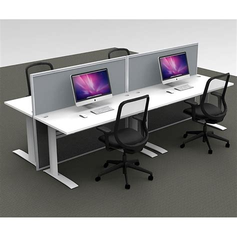 Office Desk Systems by Space System 4 Desk Pod With 2 Floor Standing Screens