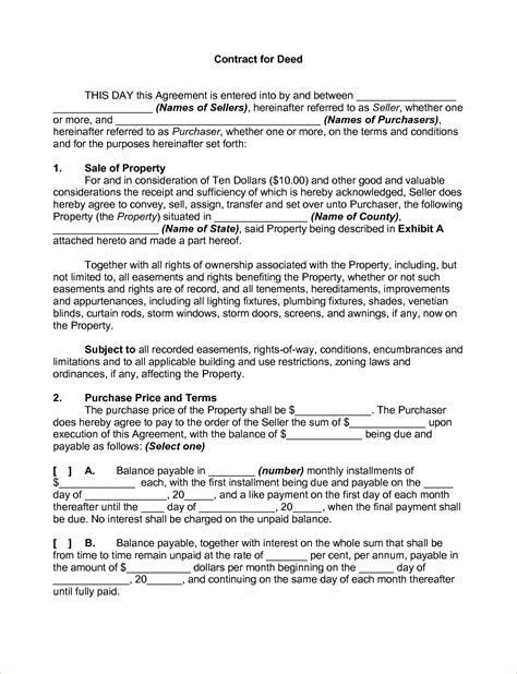 free contract for deed template sle contract for deed bamboodownunder