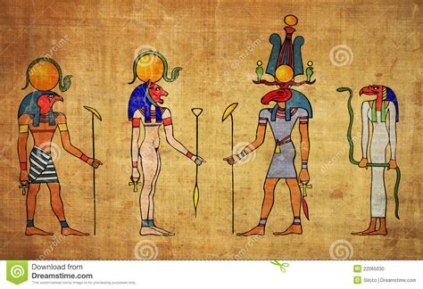 Egyptian Gods And Goddess Cartoon Vector