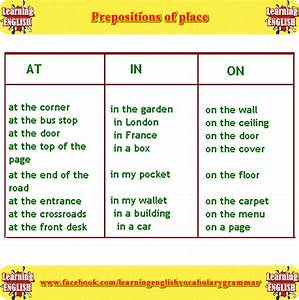 In On at prepositions of place - English grammar