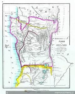 Plano De Arauco I Valdivia Con La Designacion De La Antigua I Nueva Linea De Frontera Contra Los