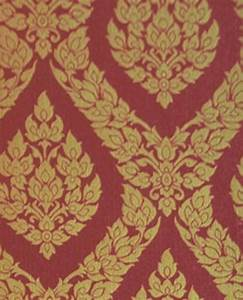 Thai Inspired Damask Pattern Textured Vinyl Wallpaper, Red