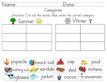categorize classify worksheets including cut and paste