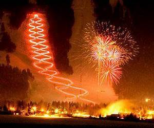 This is the torch parade in Jackson Hole on New Year's Eve. All the skiers carry torches on ...