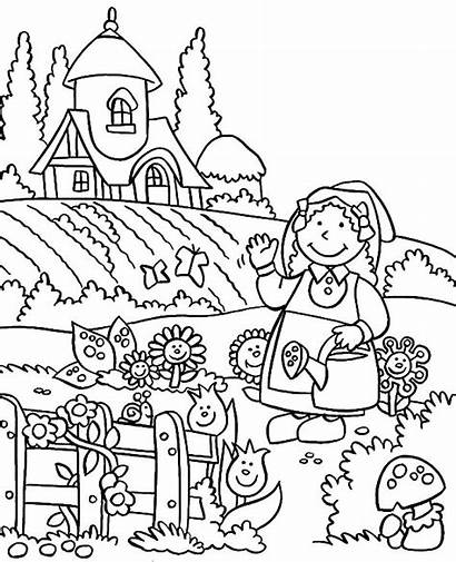 Coloring Garden Pages Gardening Spring Lovely Fairy
