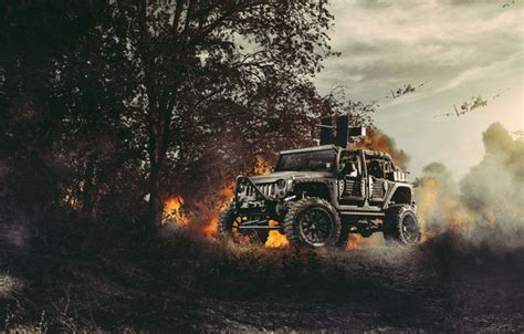 Wallpaper Nature, Fire, Cars, Front, Wrangler, Jeep, Off