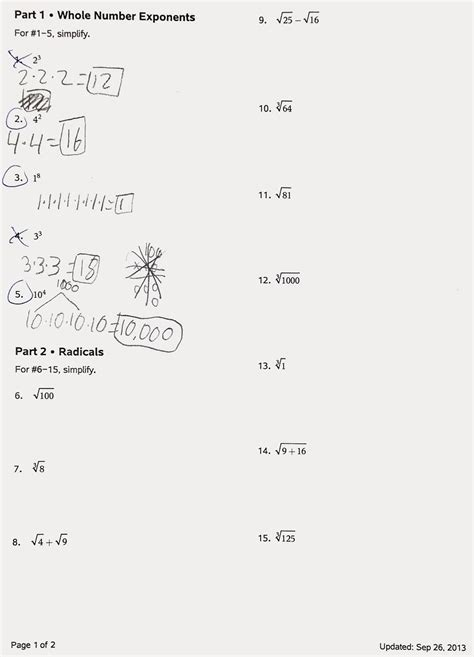 pictures radicals and rational exponents worksheet