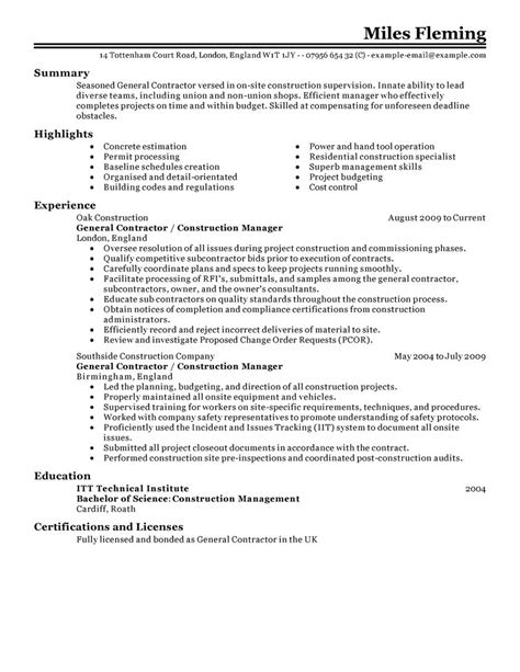 general contractor resume writing general contractor resume exles construction resume sles livecareer